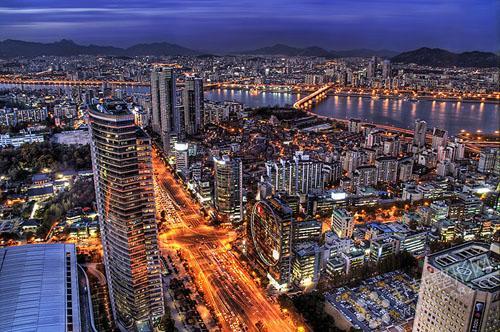 韩国/首尔江南区美丽夜景。