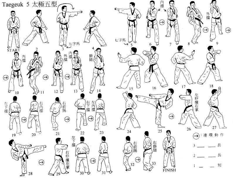 跆拳道七章品势路线教学图解